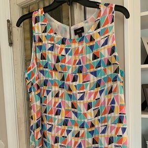 Colorful sleeveless top. Versatile!